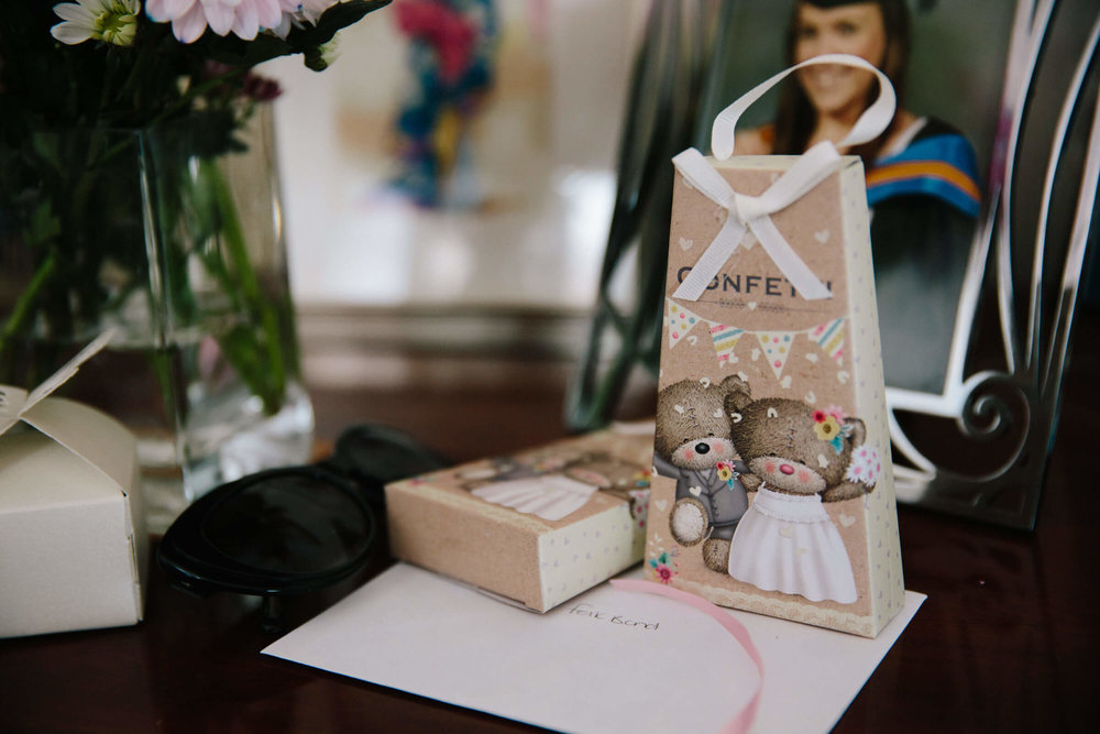 packaged confetti on table top ready for throwing