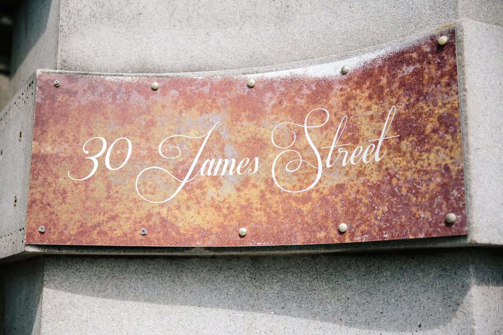 30 James Street wedding venue sign