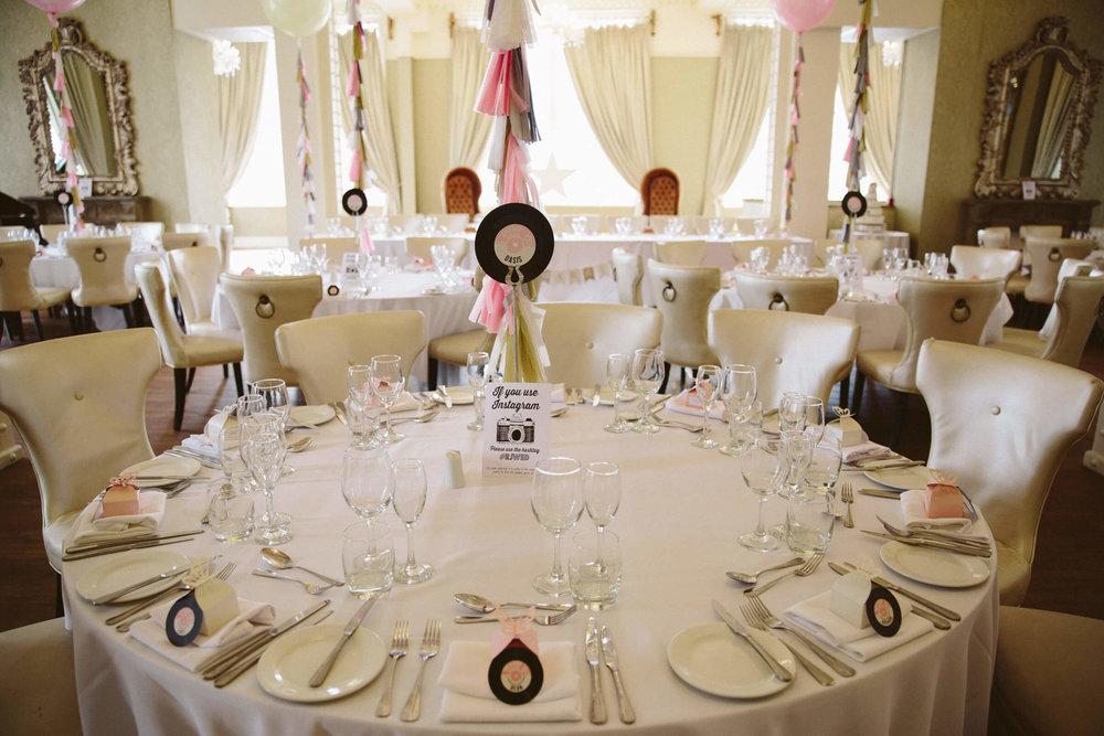 top table of wedding breakfast room at 30 James Street