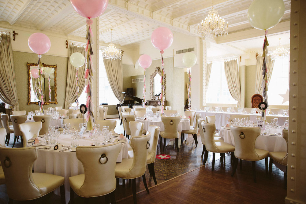 wide angle lens photograph of ceremony wedding breakfast room at 30 James Street
