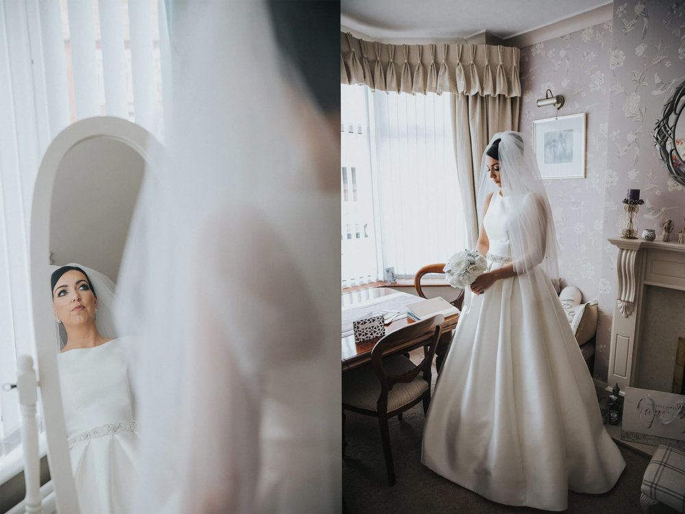 bridal portraits posed in mirror and front dining room at 30 James Street