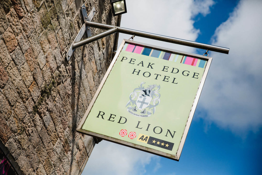 macro lens photograph of peak edge hotel sign