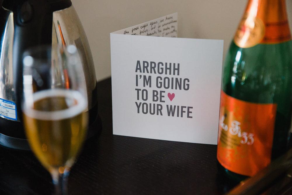 celebratory wedding card at peak edge hotel