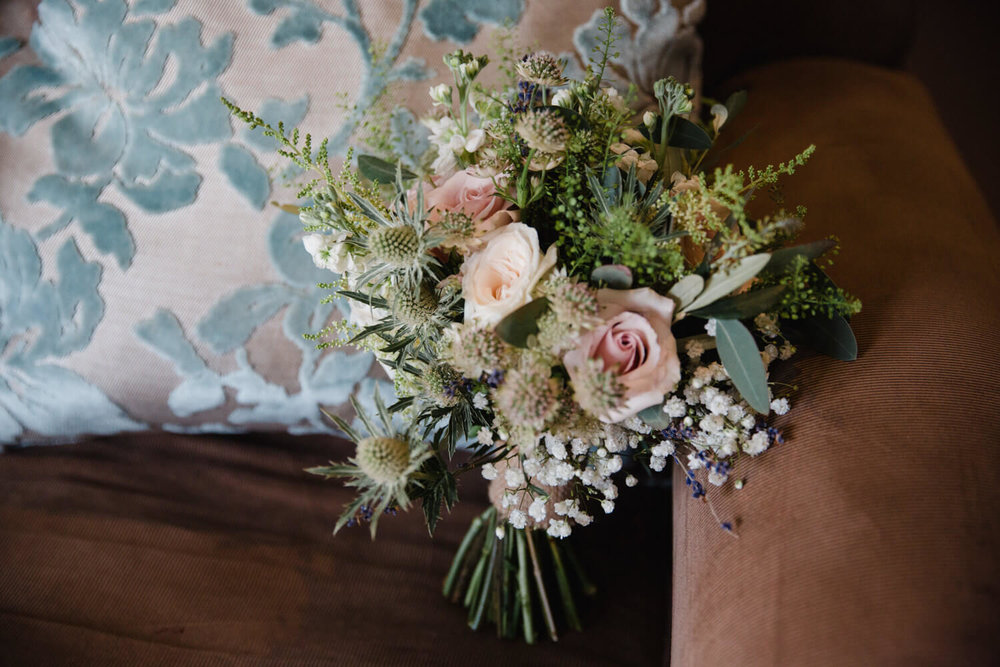 wedding bouquet of flowers on chair