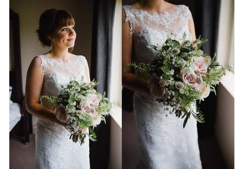 bride portraits holding bouquet in window