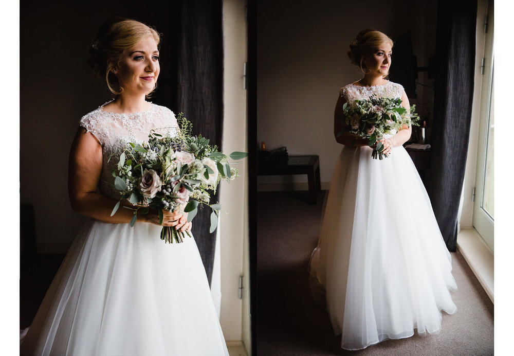 bride portraits by the window holding bouquet for her peak edge hotel wedding