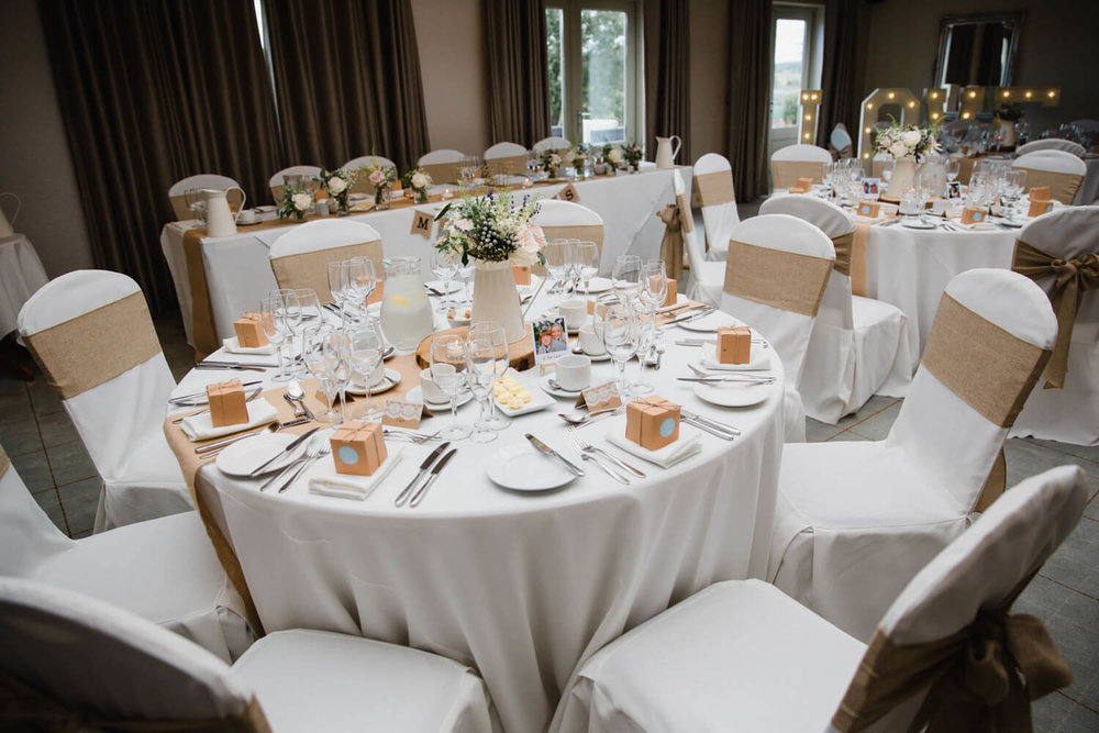 wide angle detail photograph of wedding breakfast room