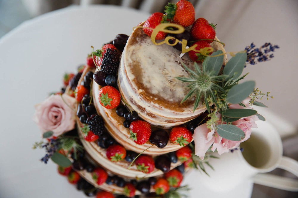 detailed photograph looking down wedding cake