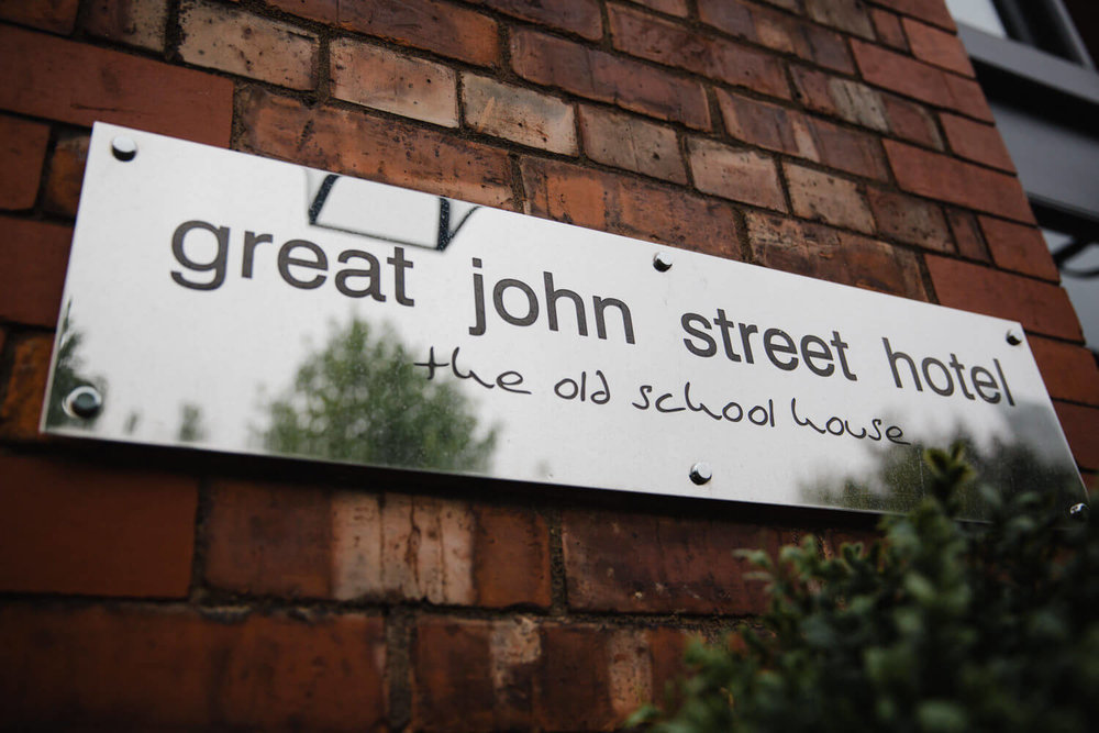 Great John Street Hotel venue wall sign