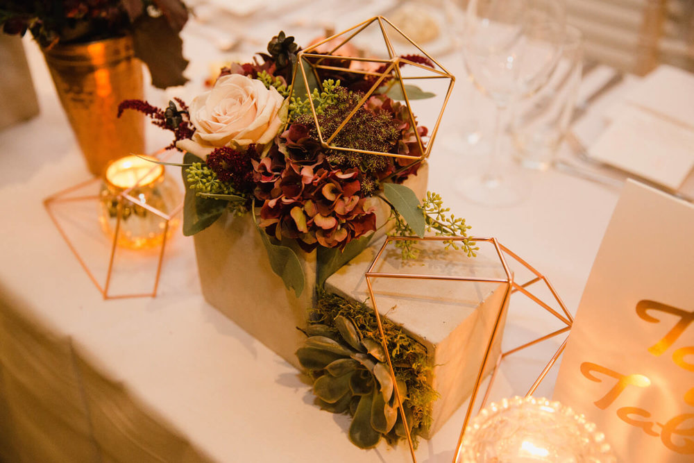 geometric table decorations for wedding breakfast