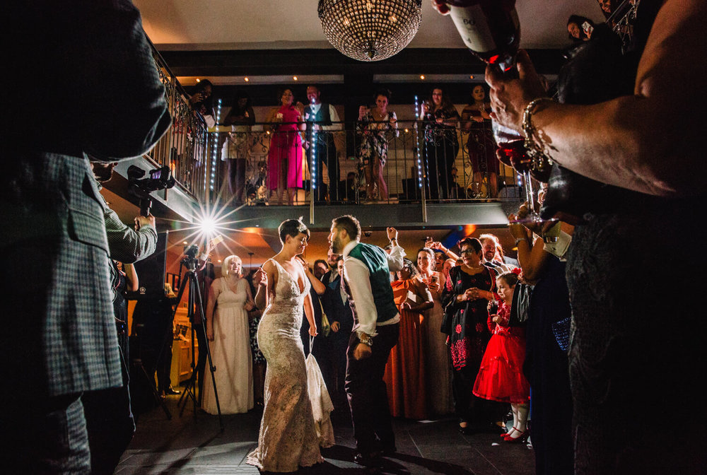first dance of newly wedded couple at great john street hotel wedding