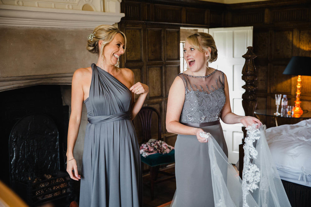 bridesmaids laughing and joking