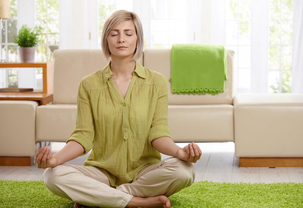 Mother meditating