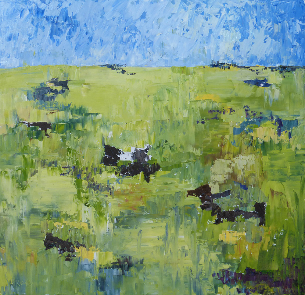 """Out to Pasture, oil on canvas, 36""""x36"""" SOLD"""