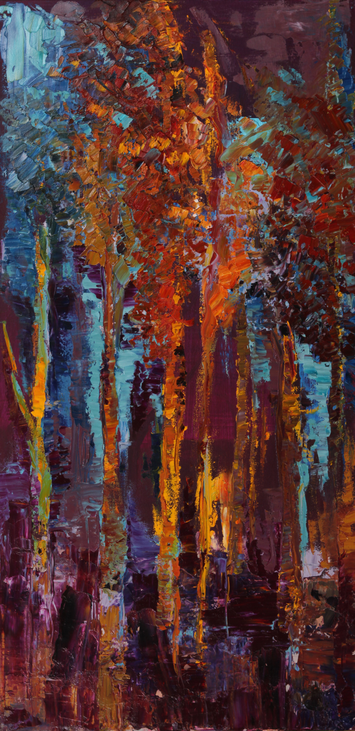 """Forest of Light, oil on canvas, 48""""x24"""" NFS"""