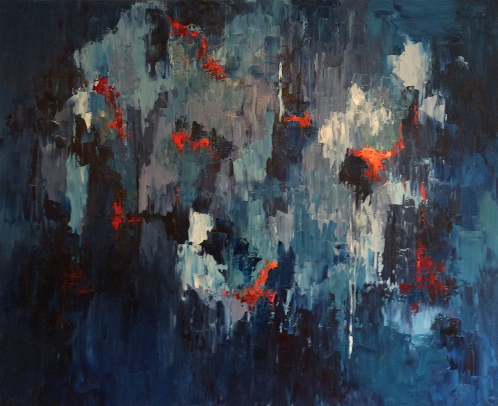 """Jewels in the Darkness, oil on canvas, 48""""x60"""" SOLD"""