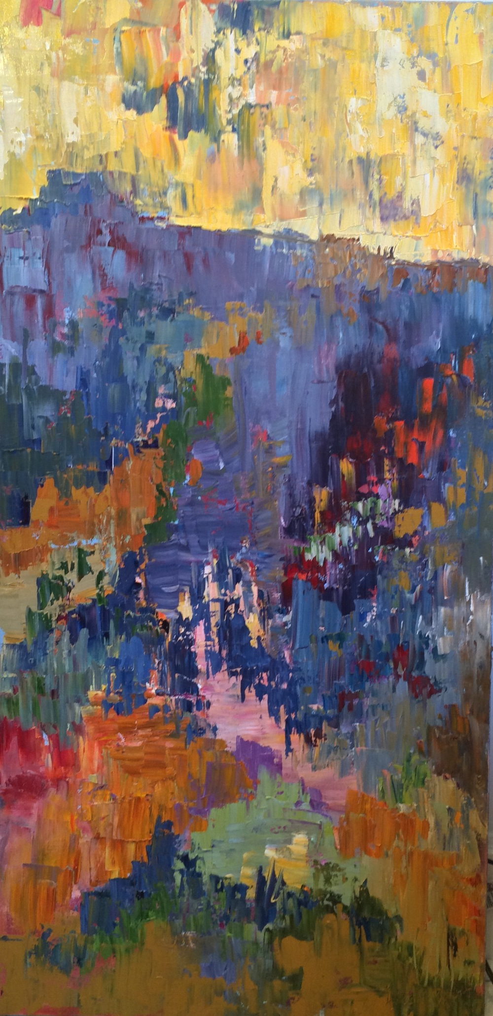 """Listening In, oil on canvas, 48""""x24"""" SOLD"""