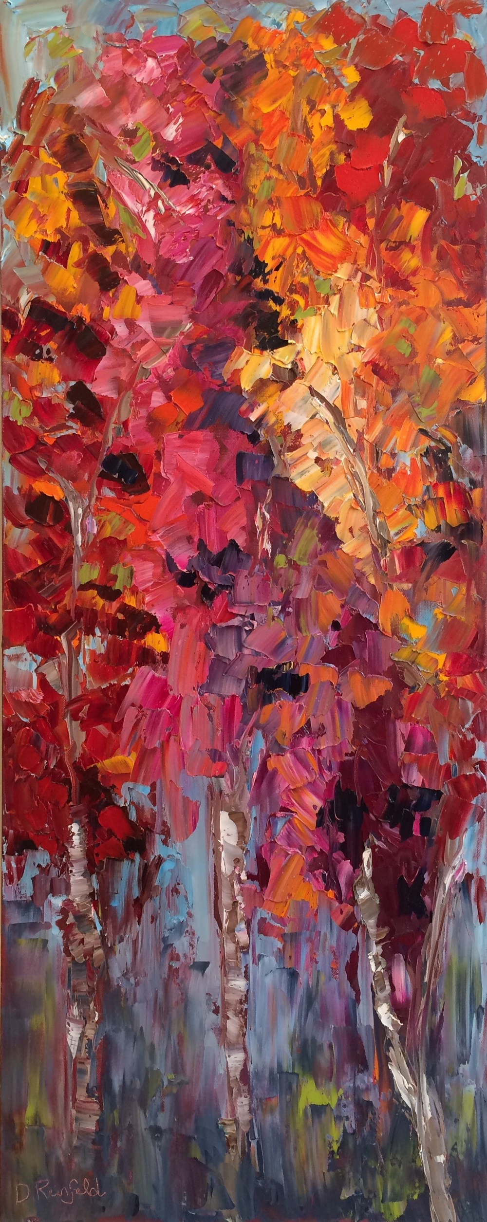 """Roots Reaching Deep, oil on canvas, 40""""x16"""" SOLD"""