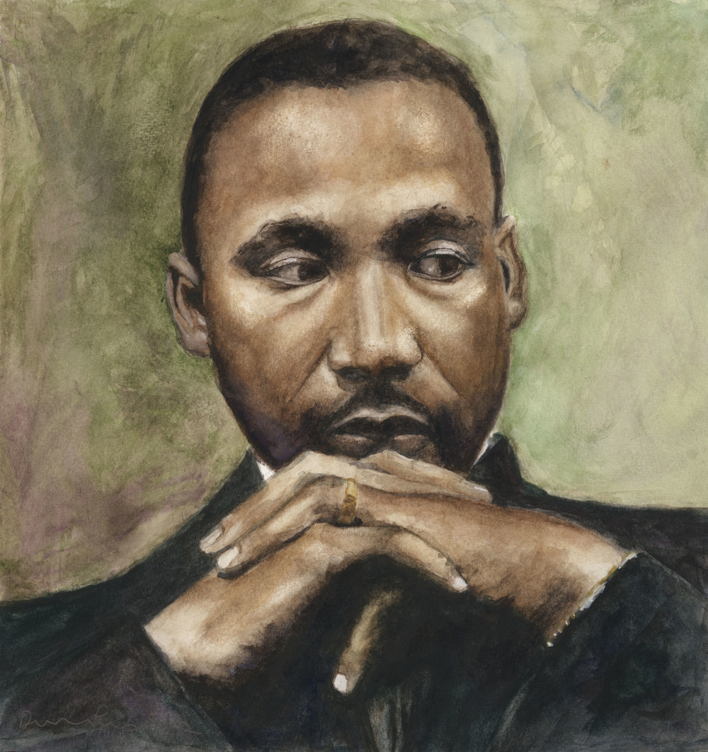 """""""Our lives begin to end, the day we become silent about the things that matter,"""" Martin Luther King Jr. Portriat, watercolor, NFS"""