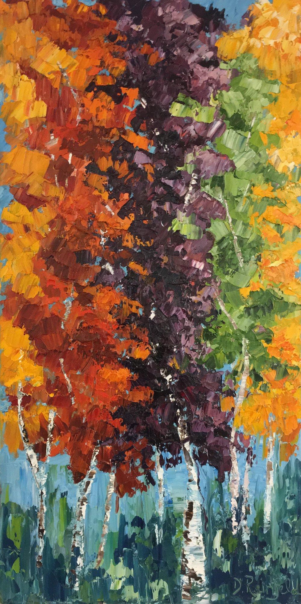 "Bright Tomorrow, oil on canvas, 36""x18"" $985"