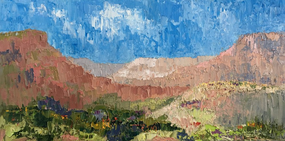 """High Zion Visions, oil on canvas, 12""""x24""""  $475"""