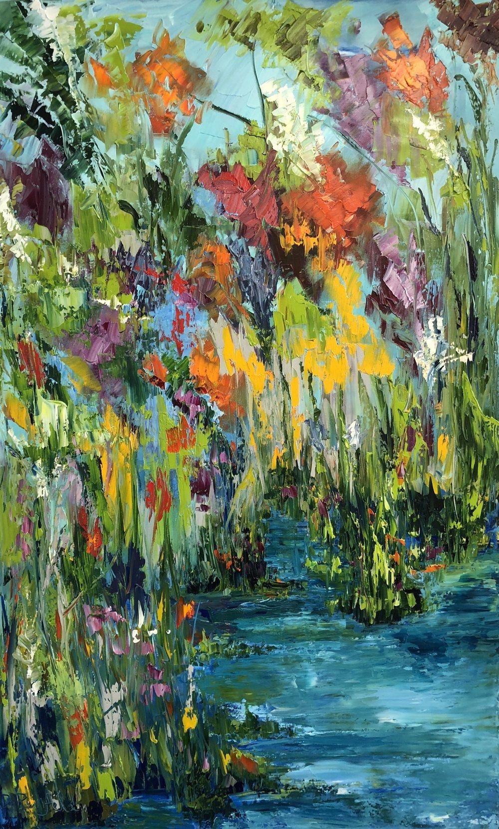 "Joy in Bloom, oil on canvas, 48""x30"" SOLD"