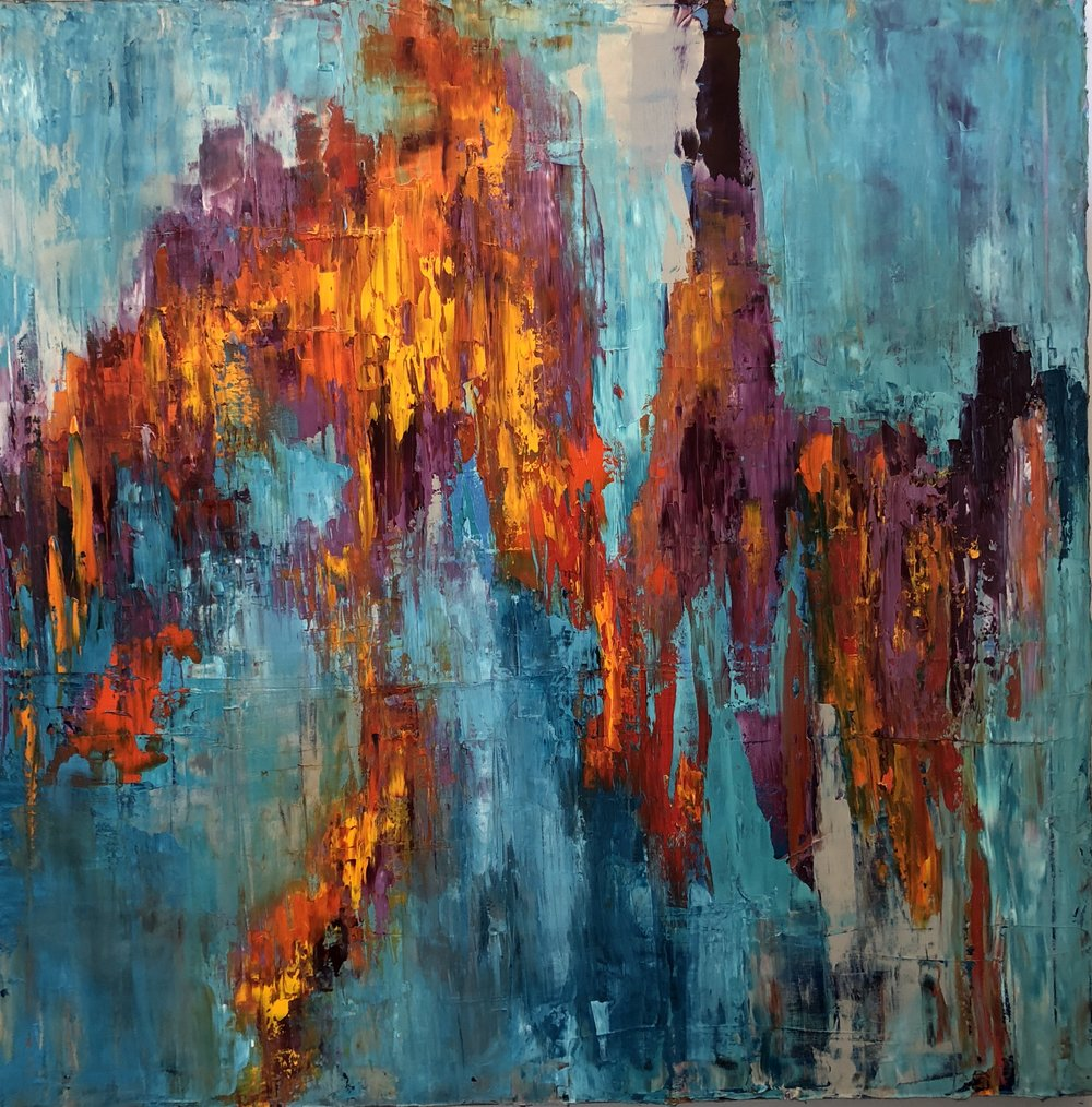 """Rise Up 2, oil on canvas, 36""""x36""""  $1900"""