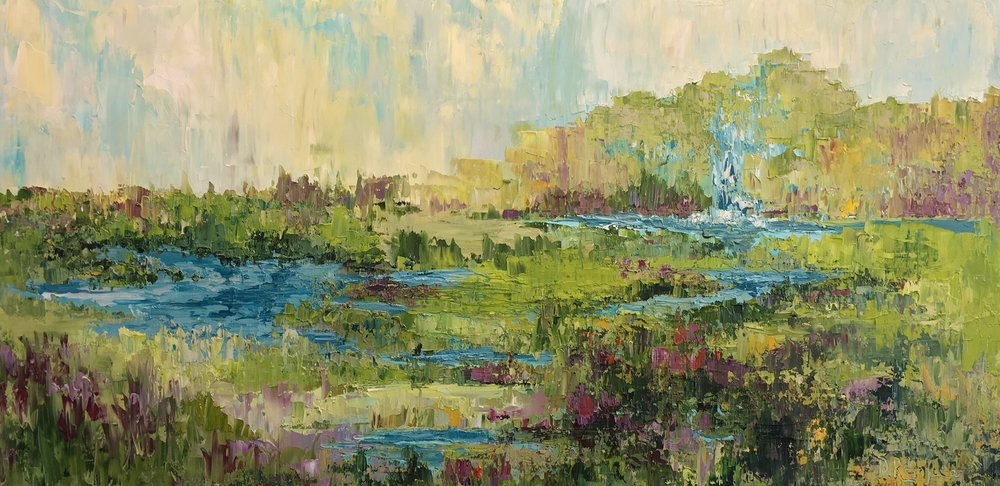 """Tributary, oil on canvas, 24""""x48"""" $1800"""