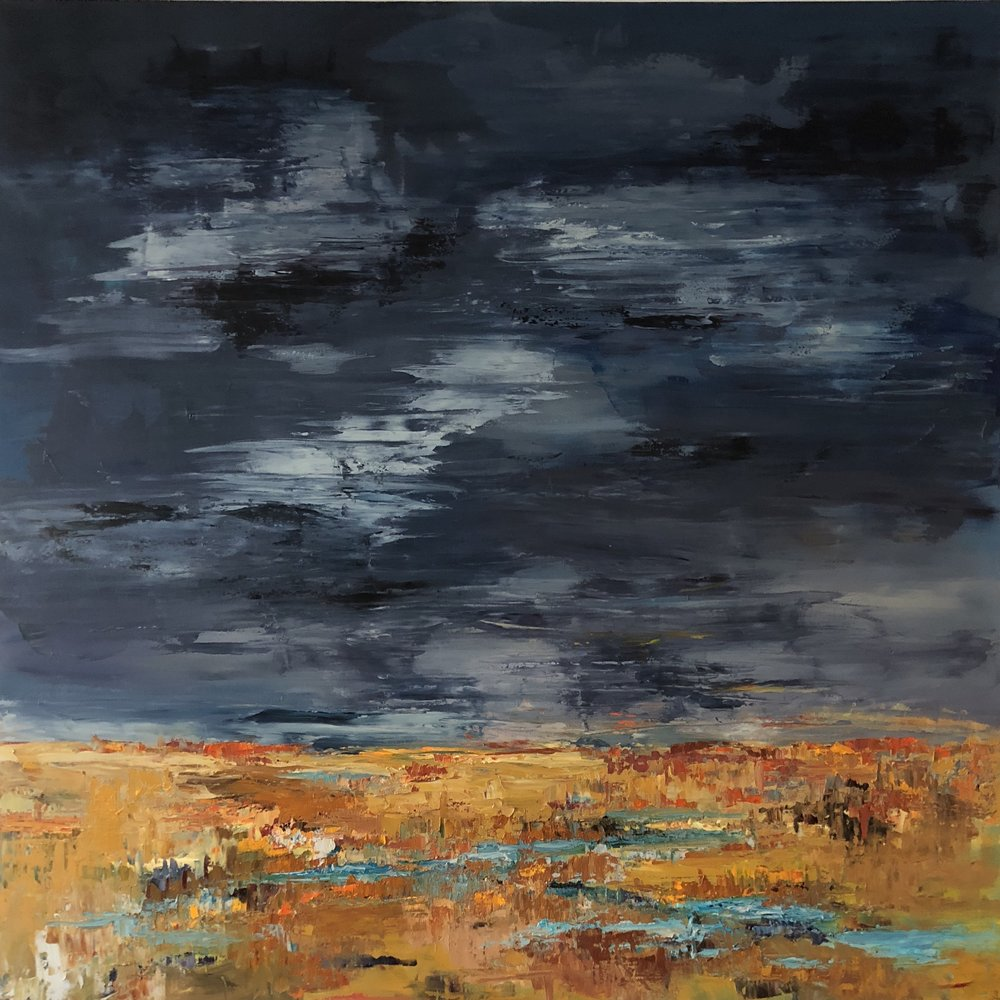 """Gathering Storm, oil on canvas, 48""""x48"""" $2950"""