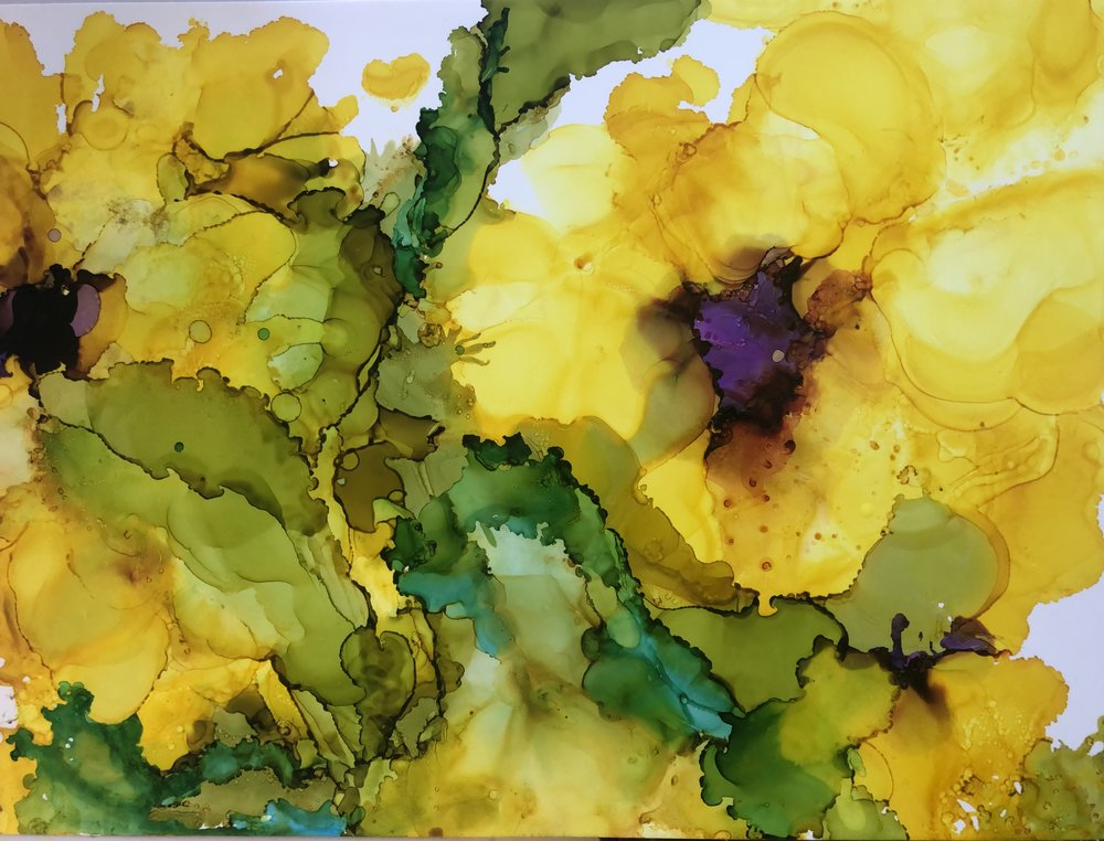 "Golden Flowers, alcohol ink on yupo paper, 9""x12"" SOLD"