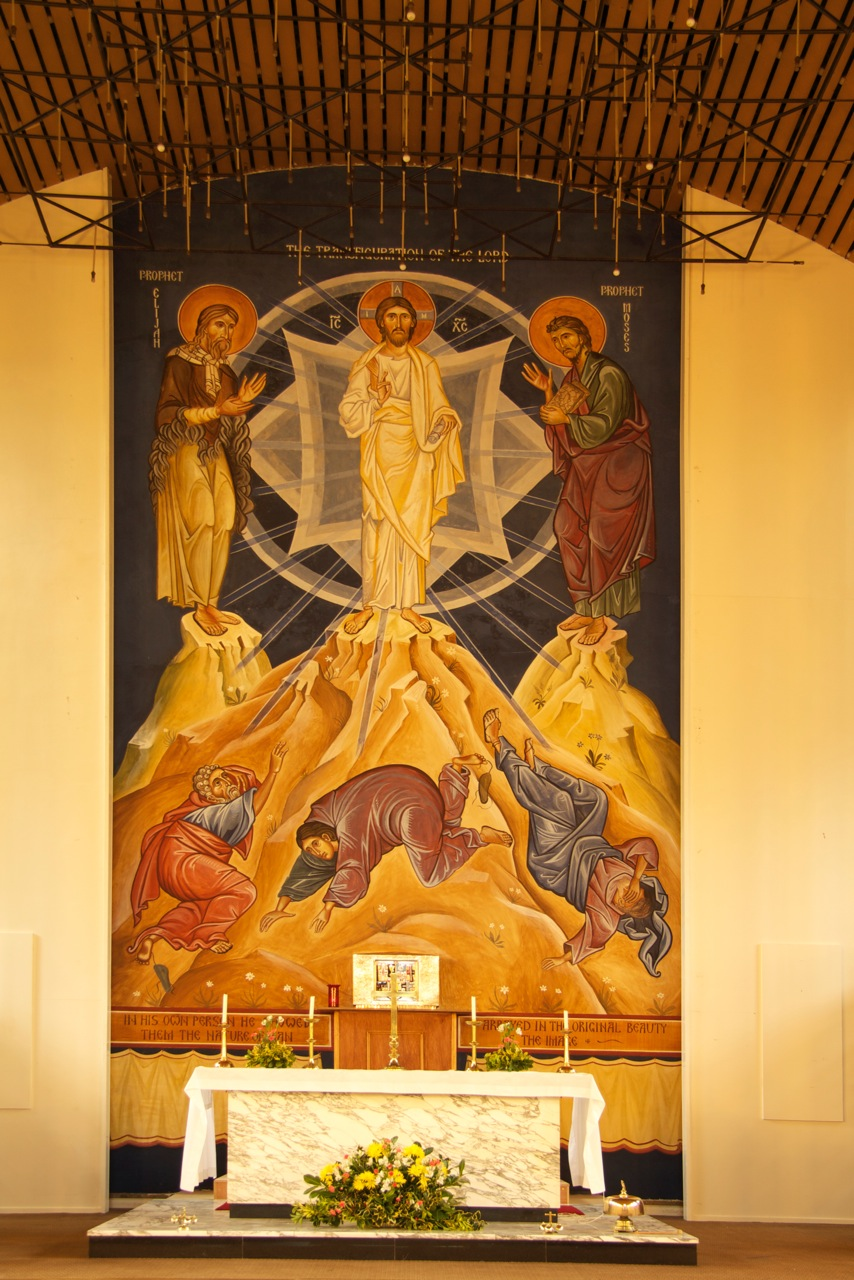 A secco of the Transfiguration produced by Aidan Hart in Our Lady of Lourdes church, Leeds.