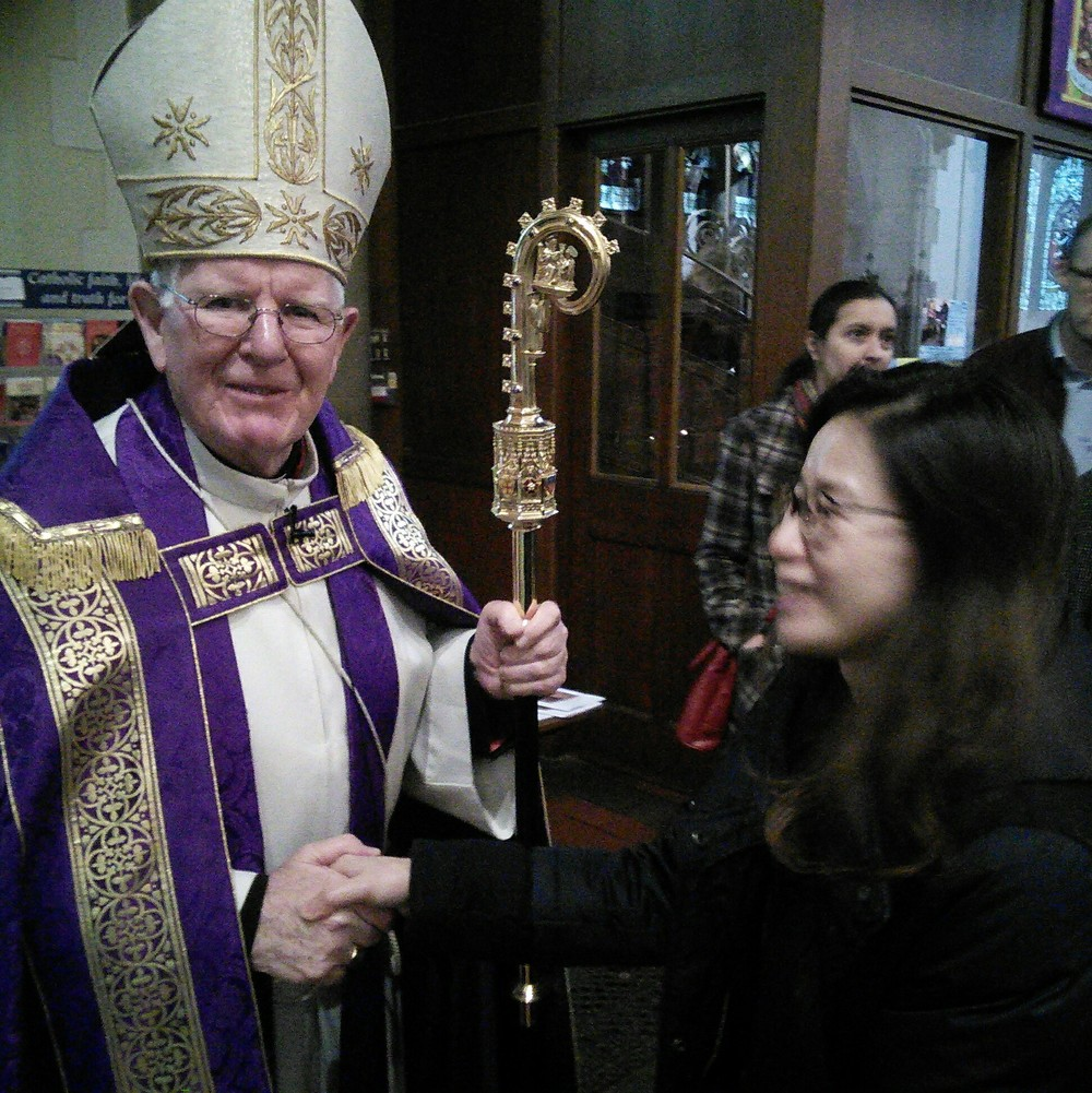 Amber meeting Bishop Michael at the Rite of Election