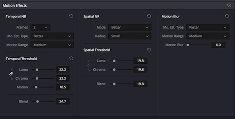 Noise Reduction and Motion Blue can only be used in the paid DaVinci Resolve Studio.