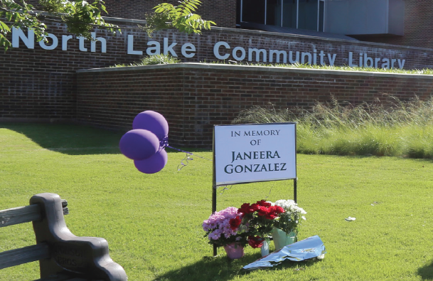A memorial is held for Janeera Gonzalez at North Lake College after she was kiled last week.