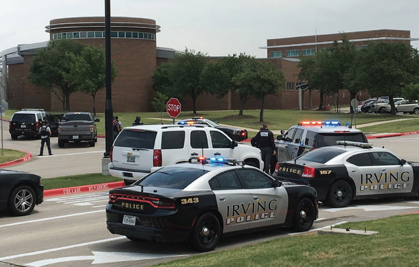 Police arrive the at North Lake campus after a shooting left two dead.