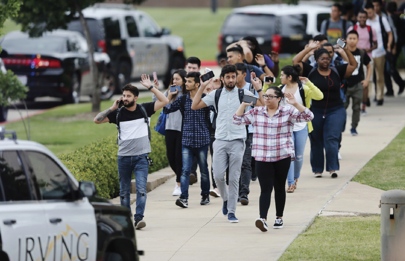 Students are evacuated from campus after the shooting