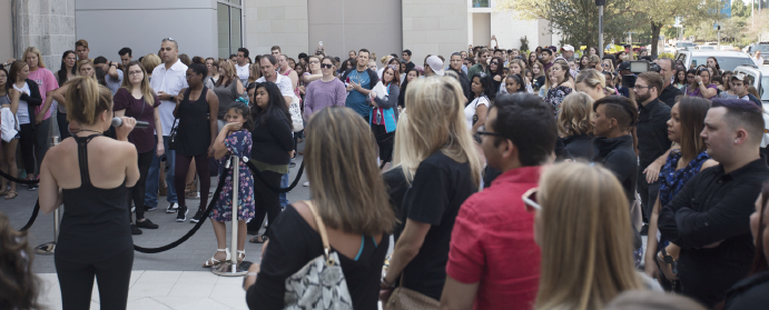 More than 400 people wait for the chance to meet Demi Lovato on Sept. 10 in Plano.