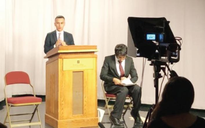 Drew Castillo speaks his position on gun control on behalf of Turning Point USA.
