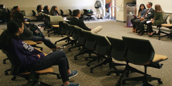 Town hall panelists discuss domestic violence among immigrant groups with Richland Students.