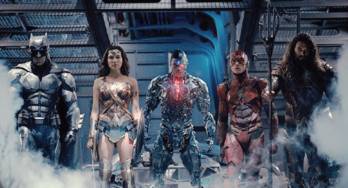 "Ben Affleck, Gal Gadot, Ray Fisher, Ezra Miller and Jason Momoma star in ""Justice League."""