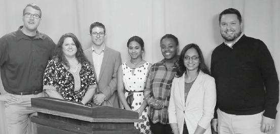 (Left to right) Alexander Myers - Huston, Dee Dee Herrerra, Gregg Soloman, Tsion Zenabu,Brianna Brody, Shanthi Shyamsunder and professor Kevin Wortley at Duck Pond challenge.