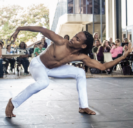 A dancer from the Terrance M. Johnson Dance Project performs.