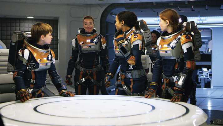 """Maxwell Jenkins, left, Molly Parker, Taylor Russell and Mina Sundwall in """"Lost in Space."""""""