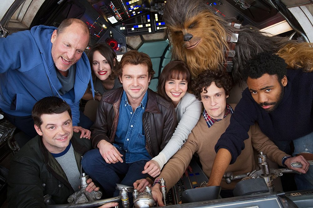 "Woody Harrelson, Phil Lord, Christopher Miller, Donald Glover, Alden Ehrenreich, Phoebe Waller-Bridge, Emilia Clark and Joonas Suotamo in ""Solo: A Star Wars Story"" (2018) Courtesy imdb.com"