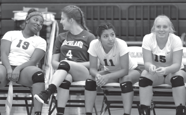 Volleyball team members watch from the bench.