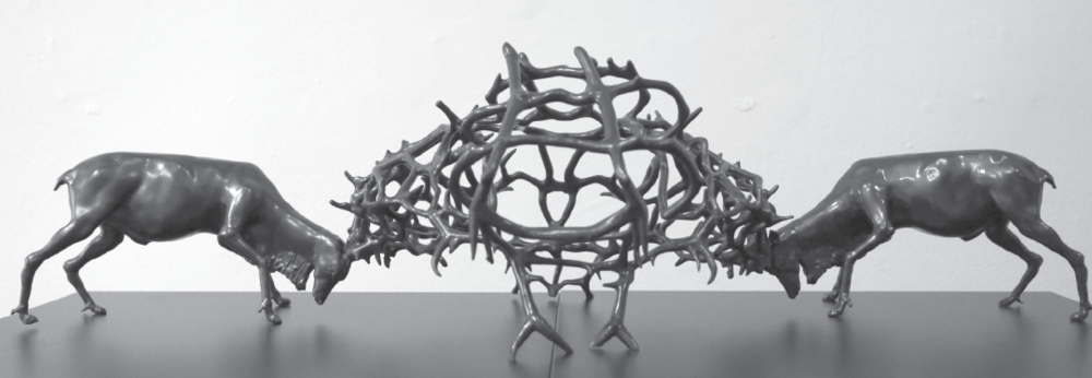 """""""Caribou Conflict,"""" a stereolithograph made on a 3D printer by artist David Van Ness, is on display through Sept. 21 in the Brazos Gallery."""