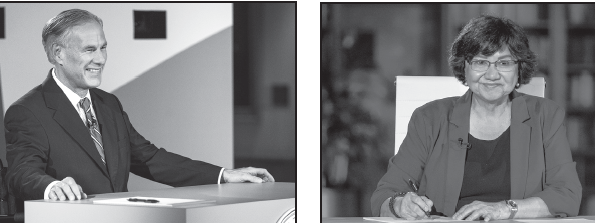 Incumbent Greg Abbott (R), left, and Democratic challenger Lupe Valdez debate in the LBL Library in Austin on Sept. 28.
