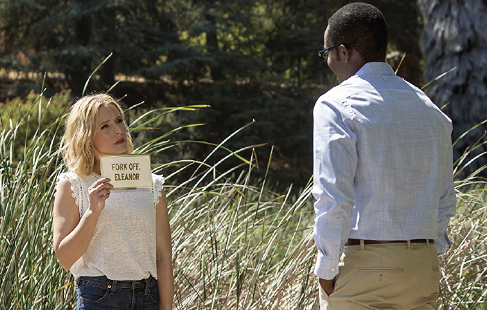 "Kristen Bell, left, and William Jackson Harper star in ""The Good Place."""
