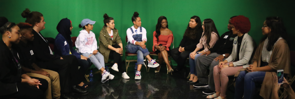 Richland student leaders gather in the TV studio to discuss the importance of voting with Koshy, Ferrera and Keys.