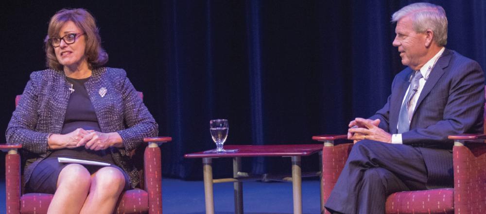 Richland president, Dr. Kay Eggleston and Chancellor Joe May at Fannin Hall on Nov. 8.